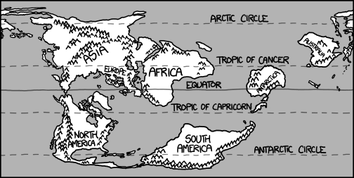a map of the reshuffled earth, with asia, africa, and most of antarctica north of the equator and north and south america south of it.