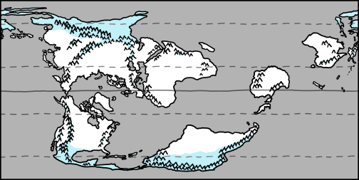 a map showing ice near the poles and mountainouse areas, shown with a light blue color