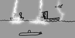lightning hits a boat, another boat, and a plane. it does not hit the submarine because the ocean is in the way.