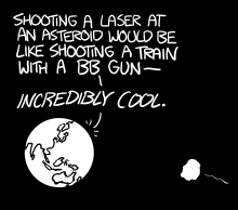 an asteroid approaches a planet which is excited about shooting lasers at it bb_more.png: a man in a hat suggests trying more