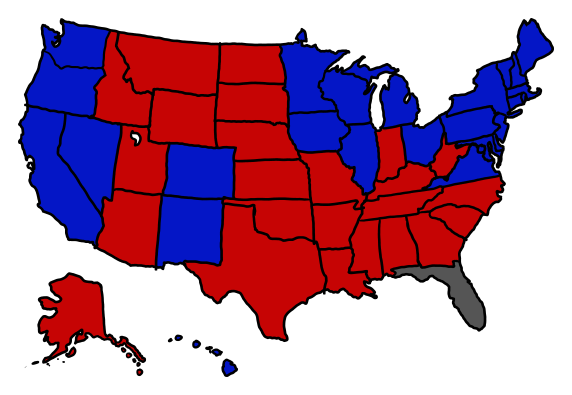 a map showing florida tied and all other states going as nate silver currently projects