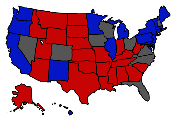 a map showing all battleground states tied