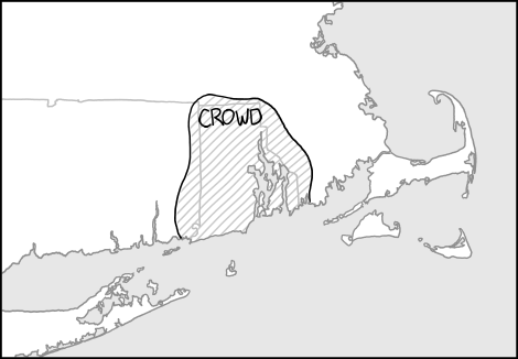 map showing Rhode Island and with a outlined section labeled 'crowd'