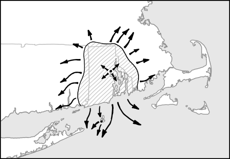 the map of Rhode Island where the crowd was outlined with arrows signifying everyone trying to leave